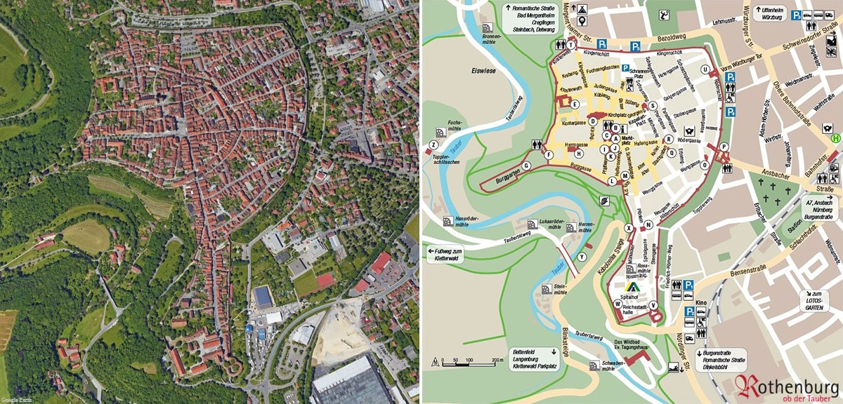 Rothenburg ob der Tauber, map, aerial view, map, city wall, overview, travelreport, Germany, blog