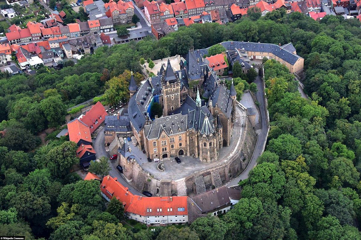 Schloss Wernigerode, Luftaufnahme, Reisebericht