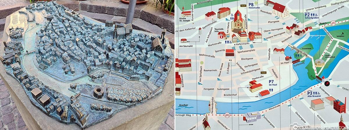 Schwäbisch Hall, Modell, Karte, Baden-Württemberg, Deutschland, Plan, Reiseblog