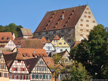 View of half-timbered houses and new hall