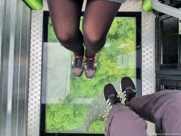 The transparent bottom of the gondola