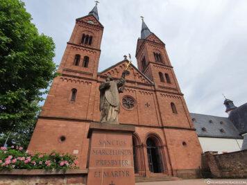 Neo-Romanesque west facade of the Einhard Basilica