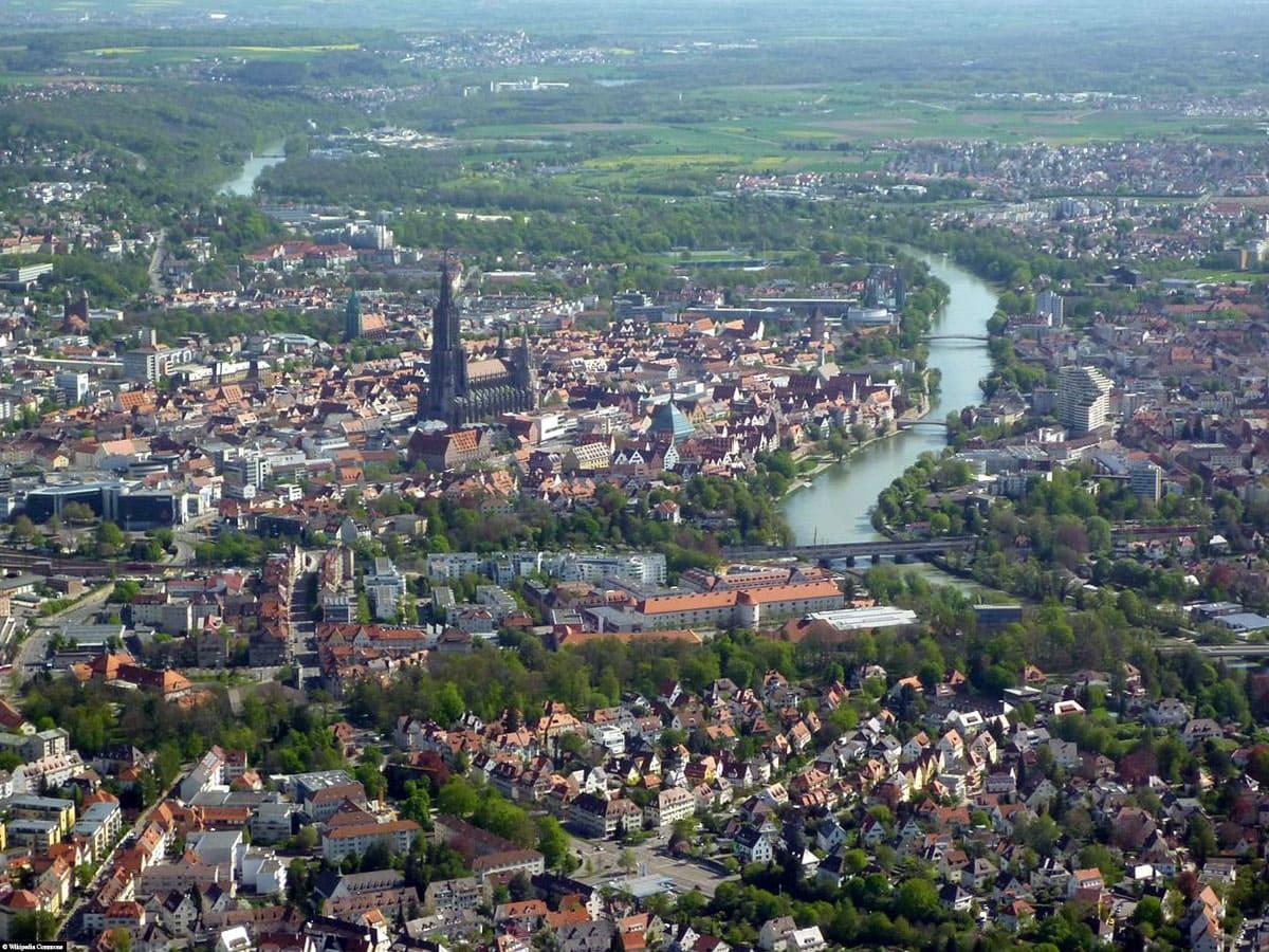 City of Ulm Aerial View, Danube, Travelreport