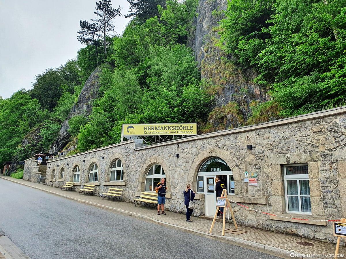 Hermannshöhle, Eingang, Tropfsteinhöhle, Reisebericht