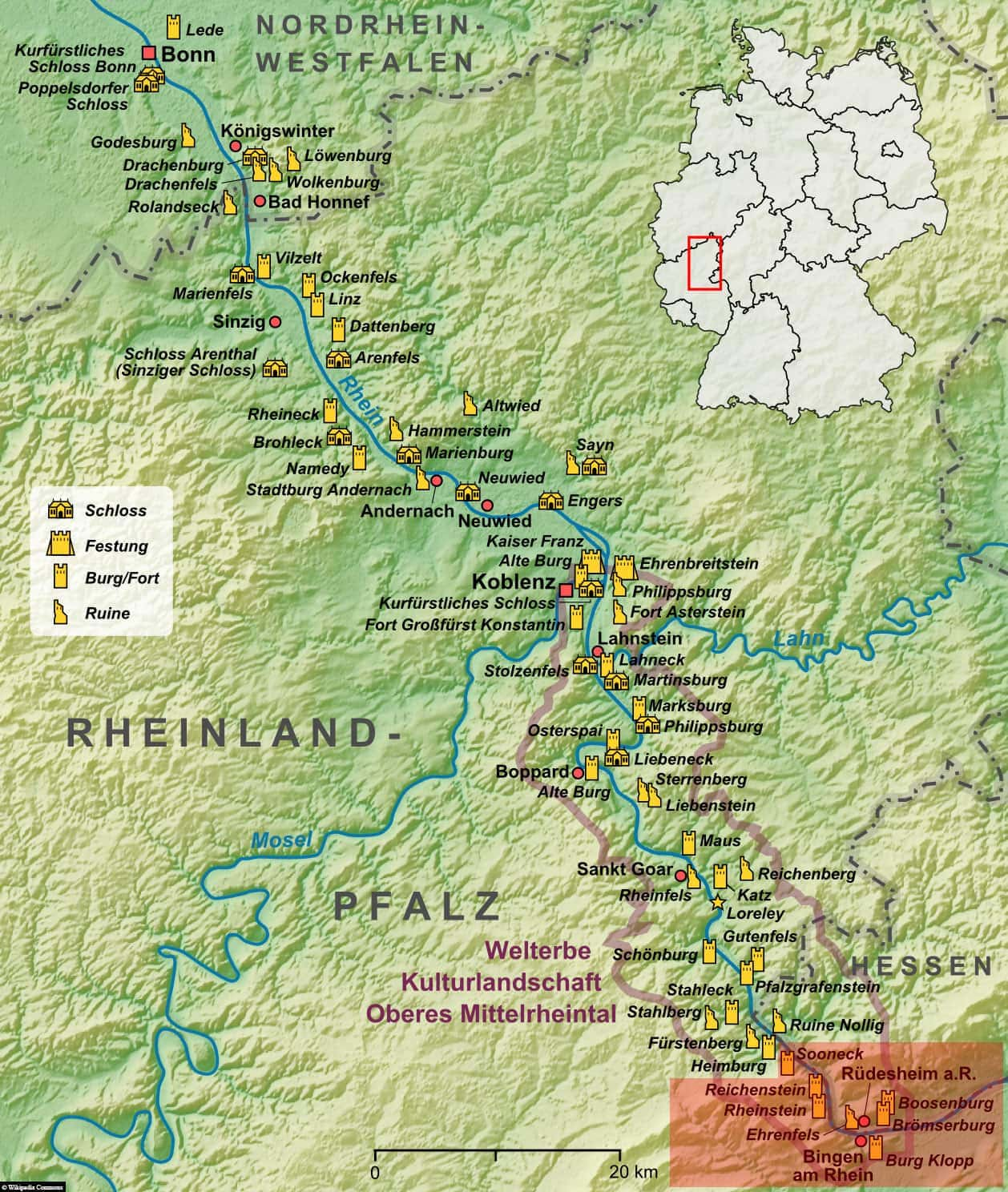 UNESCO, Cultural Landscape Upper Middle Rhine Valley, Map, Rhine, Germany, Travel Report