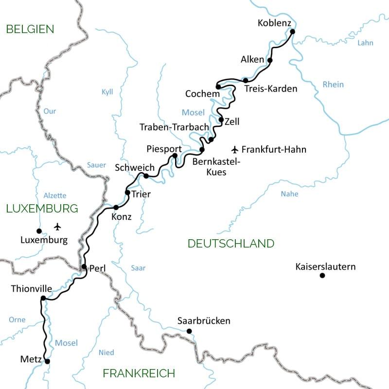Mosel, Verlauf, Karte, Deutschland, Frankreich, Luxemburg, Reisebericht