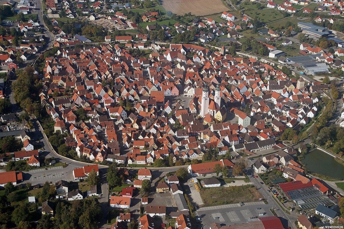 Wemding, Drohnenbild, Bayern, Deutschland, Reisebericht
