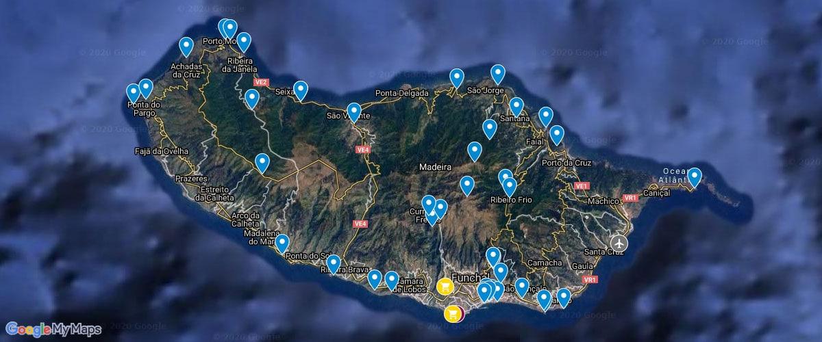 Madeira, Karte, Sehenswürdigkeiten, Attraktionen, Fotospots, Plan
