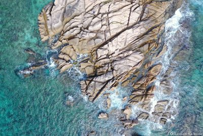 Drone footage of the east coast of La Digue