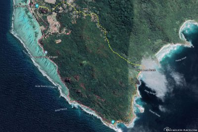 The hiking route of our tour to Anse Marron