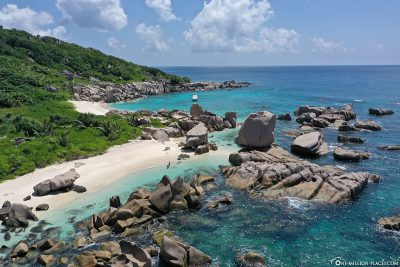 View of the beach of Anse Marron