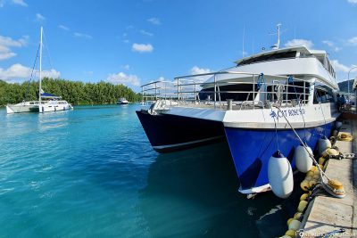 The ferry from Praslin to La Digue