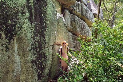 Passing granite rocks