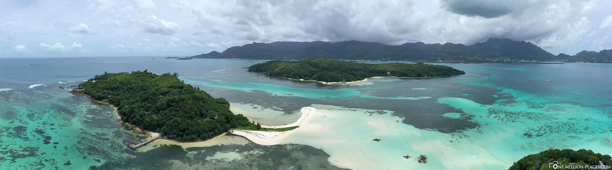 Panoramabild, Sainte Anne Marine National Park , Mahé, Seychellen, Drohnenaufnahme, Tour, Reisebericht