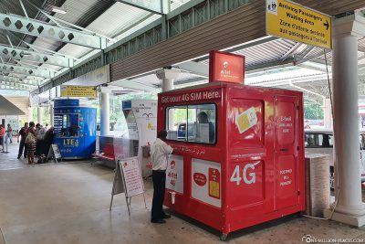 airtel 4G booth at the airport in Mahé