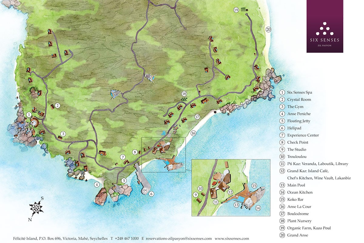 Plan, Karte, Six Senses Zil Pasyon, Felicite Island, Seychellen, Reisebericht