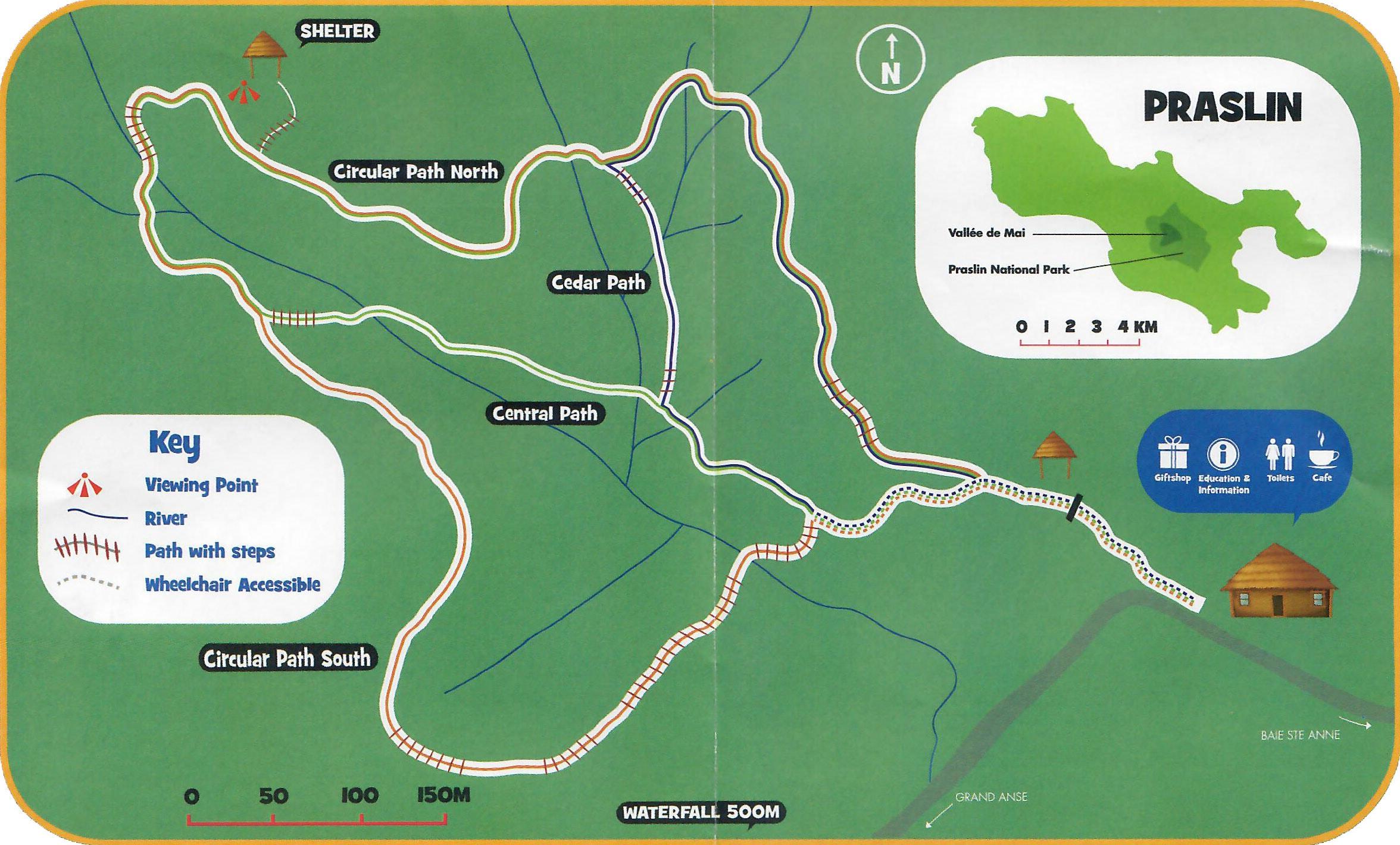 Karte, Plan, Vallée de Mai, Insel Praslin, Seychellen, UNESCO Welterbe, Nationalpark, Reisebericht